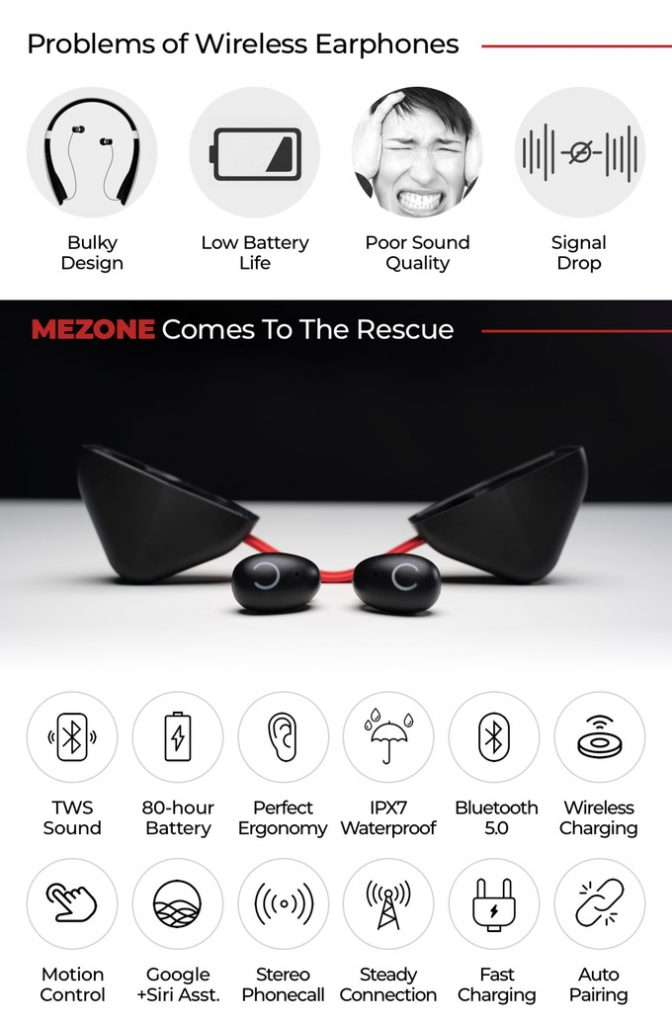 Mezone wireless Bluetooth earbuds